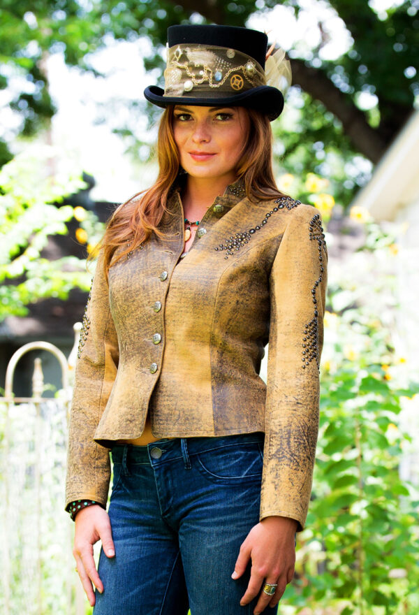 gold and black leather cropped jacket