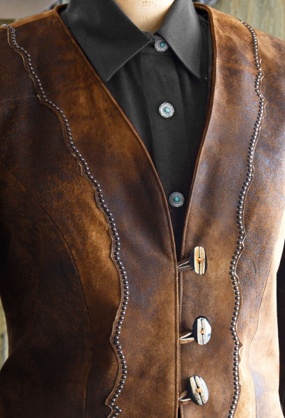 multi tone leather jacket button detail