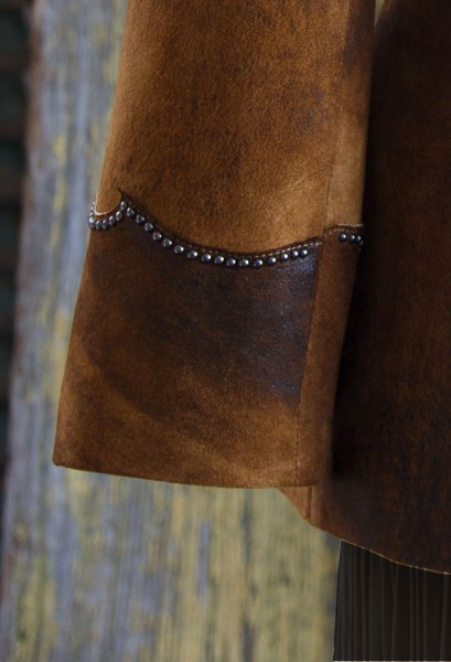 multi tone leather jacket sleeve detail
