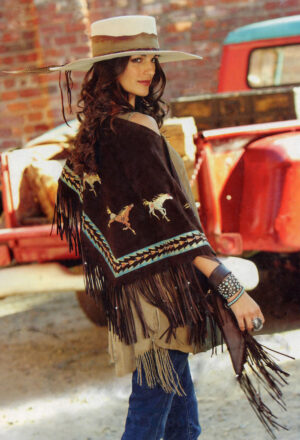 Maverick Mustangs Boar Suede Fringed Shawl