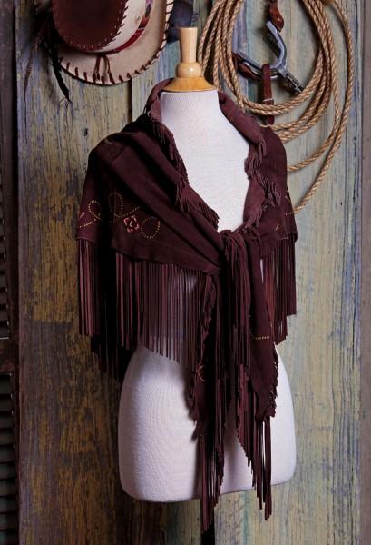 Longhorn fringed deer suede shawl