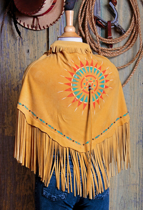 indian sun spirit fringed deer suede shawl