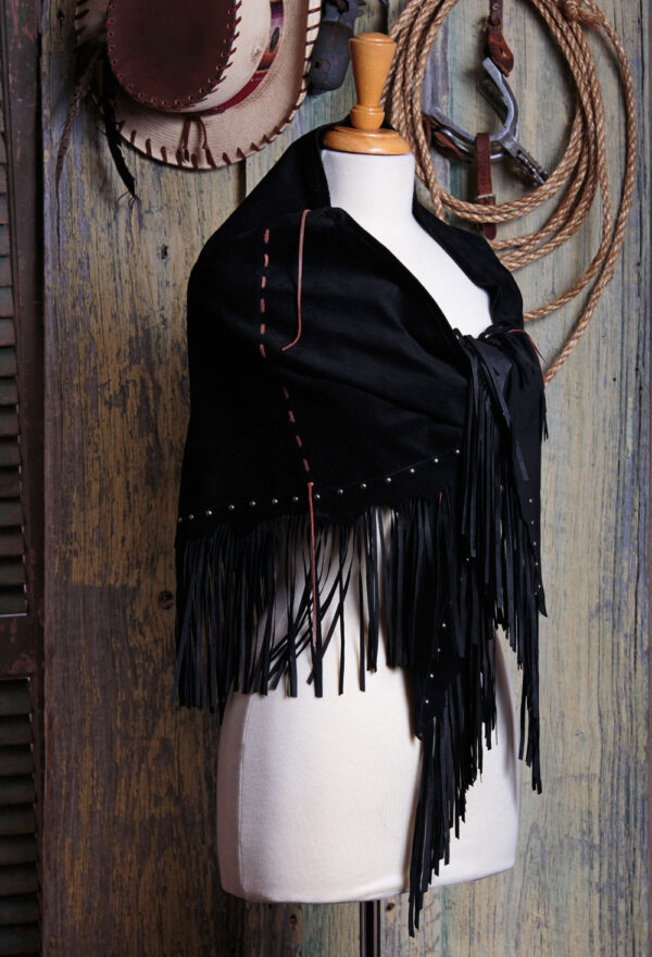 Indian Deer Spirit fringed deer suede shawl