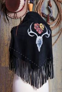 Indian Deer Spirit fringed deer suede shawl