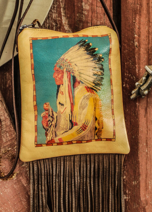 indian chief pouch close up