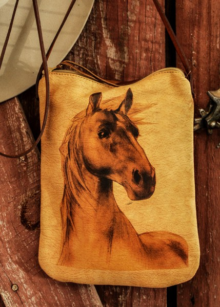 horse pouch close up