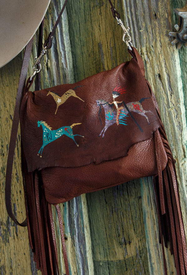 Arapahoe Ledger Horses Pouch close up