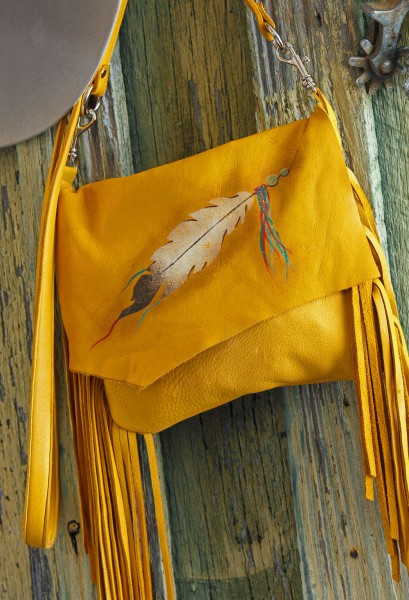 Arapahoe Feather Deerskin Pouch close up