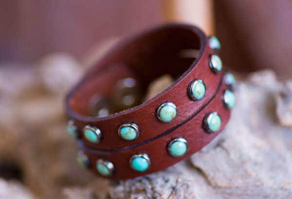 Double Slot Turquoise Cuff - Brown