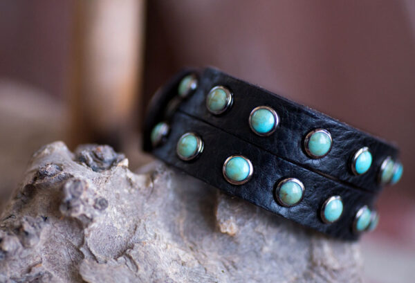 Double Slot Turquoise Cuff - Black